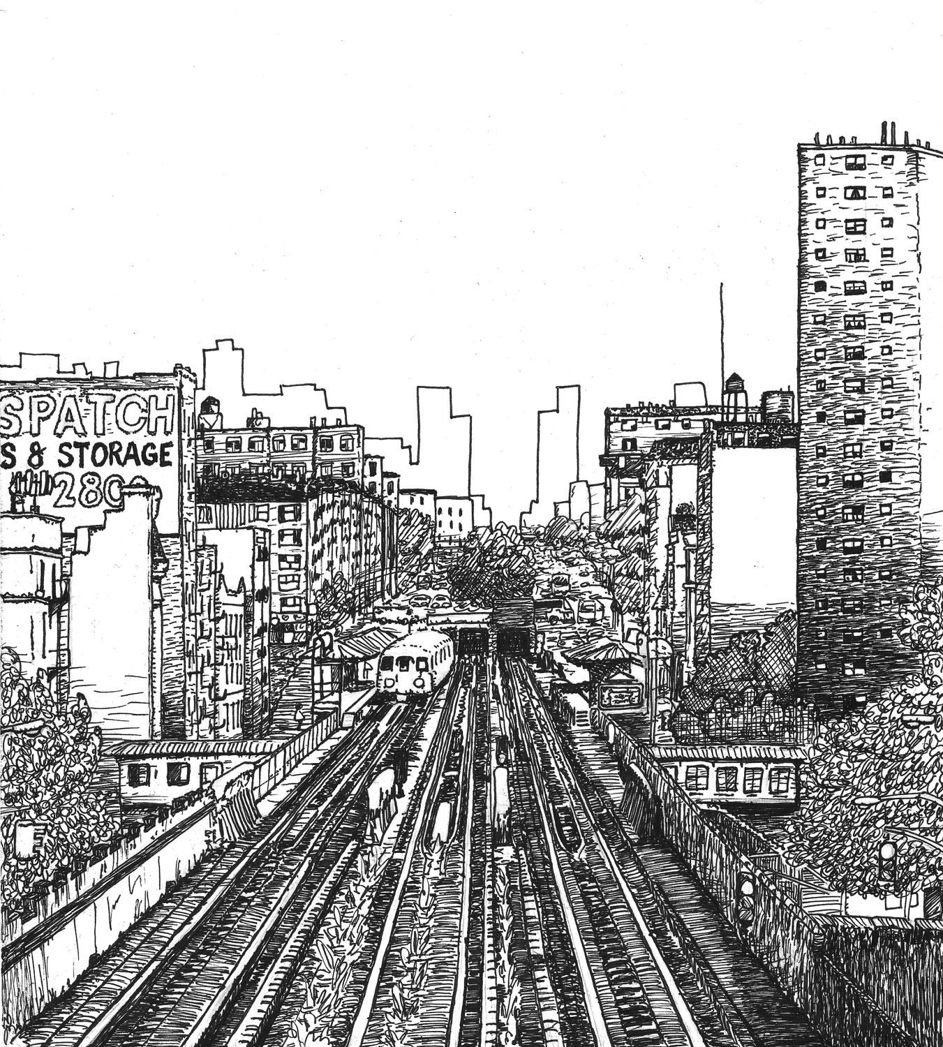 Line Art Xl 2008 : Train nyc original line drawing giclee print fine art by