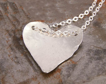 Heart Necklace,  Sterling Silver Heart, Hammered Heart Jewelry Gifts for Her Under 35