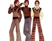 70s Mod Mens Turtleneck Sweater, Vest and Flared Pants Vintage Sewing Pattern Butterick 6791 by Kenzo--Chest 38, Waist 32