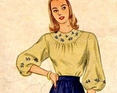 Vintage 1940s Gorgeous Round Yoke Blouse with Embroidery Transfer Simplicity 1796 Sewing Pattern--Bust 32--Long Slv Only