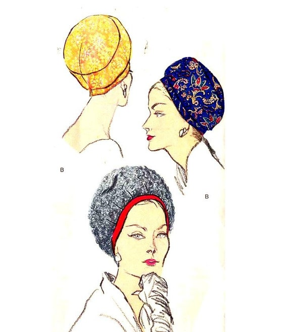 Uncut Vintage 1960s Vogue 5789 Hats Sewing Pattern Mod Puff or Banded Cloche Hat--Size 22