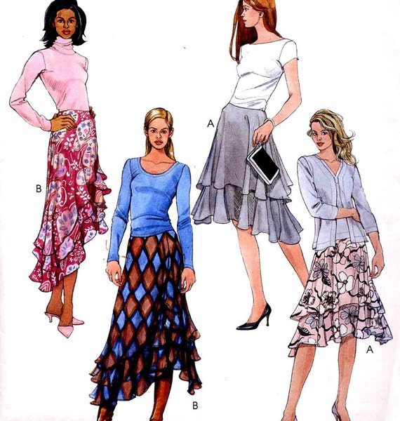 flared skirts sewing pattern with layered hi low hemlines