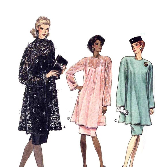 Vintage 1980s Vogue 7097 Classic Sheath with High Collar Lace Over Dress or Tunic Sewing Pattern--Bust 36-40