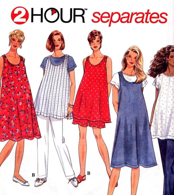 Easy Summer Maternity Separates Top or Dress, T-Shirt and Pants or Shorts Simplicity 7054 Sewing Pattern--Sizes Large to XL