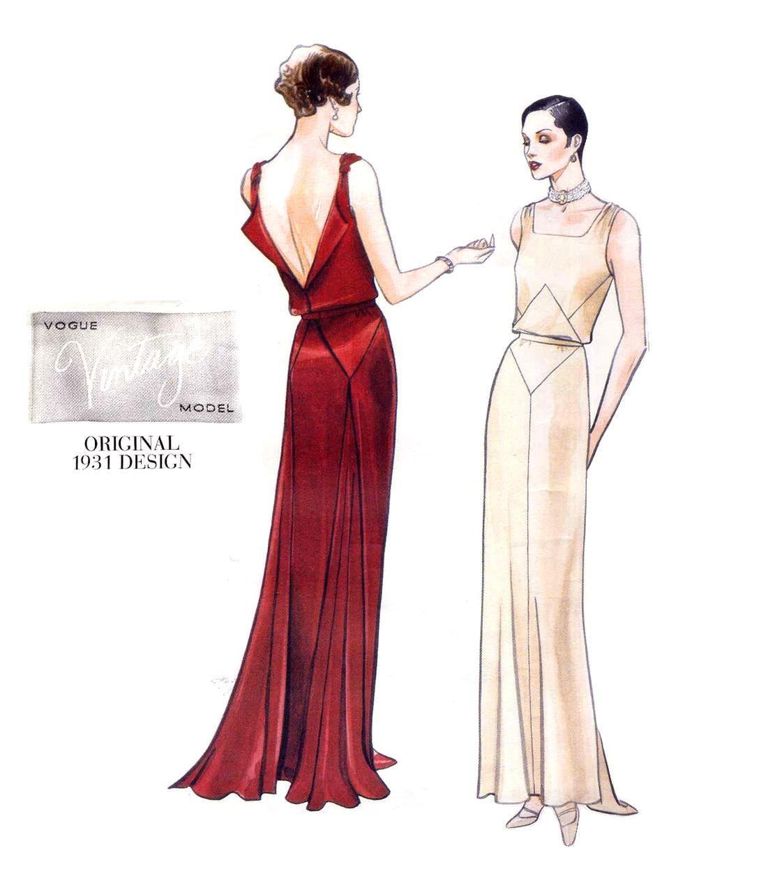 Vogue 2241 Vintage Model 1930 S Art Deco Evening Dress