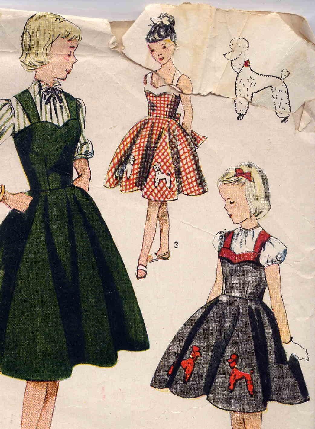 Vintage 1951 Simplicity Girls Poodle Skirt Jumper Or Strappy