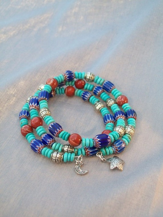 Southwestern Blue and Turquoise Memory Wire Bracelet