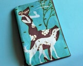 Art Deco Greyhound Cotton Fabric Zip Pouch