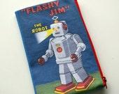 Zip Pouch - Flashy Jim Robot - Cotton Fabric