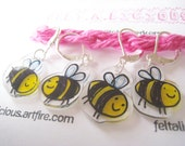 Handmade Bee Crochet Knit Stitch Markers (Set of 4)