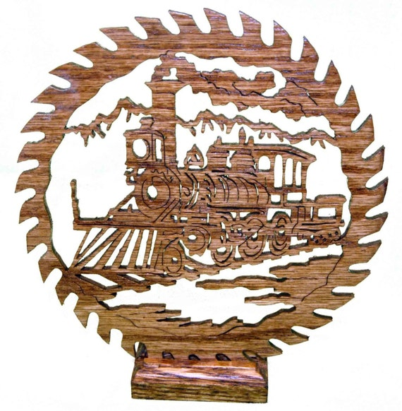 Scene with Old Train in a Saw Blade Scroll Saw Art