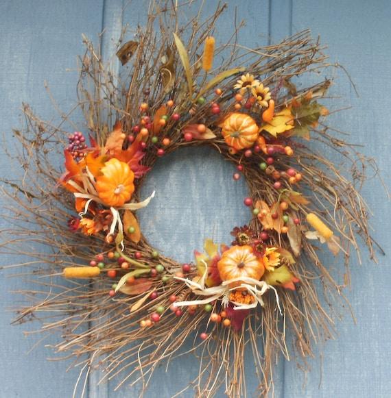 Pumpkin Fall Berry Twig Swirl Wreath Free Shipping by Silk N Lights Designs