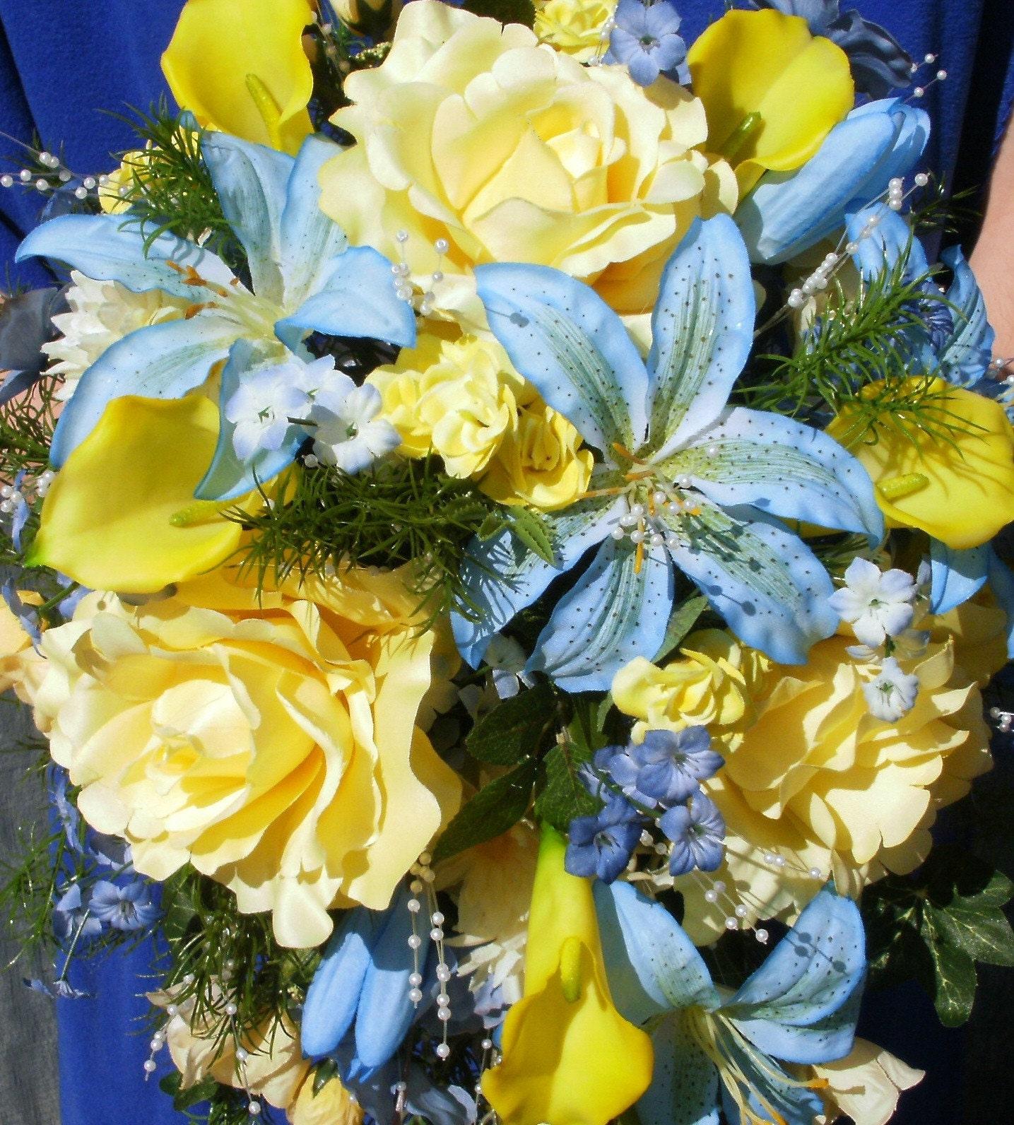 Yellow Wedding Flowers: Custom Order For Joyful675 Blue And Yellow Wedding Bouquet