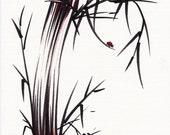 ADVENTUROUS SPIRIT  Original ink brush pen sumi-e drawing\/painting