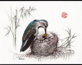 A MOTHER'S LOVE - Mother Hummingbird and Baby original drawing