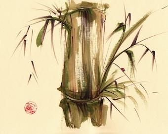 STROLLING ALONG - Original Chinese wash painting ladybug