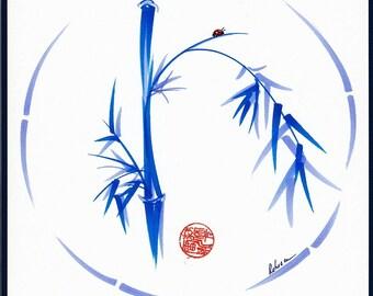 LADYBUG BLISS Original Enso Ink Brush Bamboo Zen Painting
