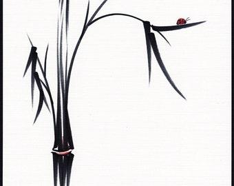 Gentle Soul - Original sumi-e ink brush pen Ladybug & Bamboo Painting