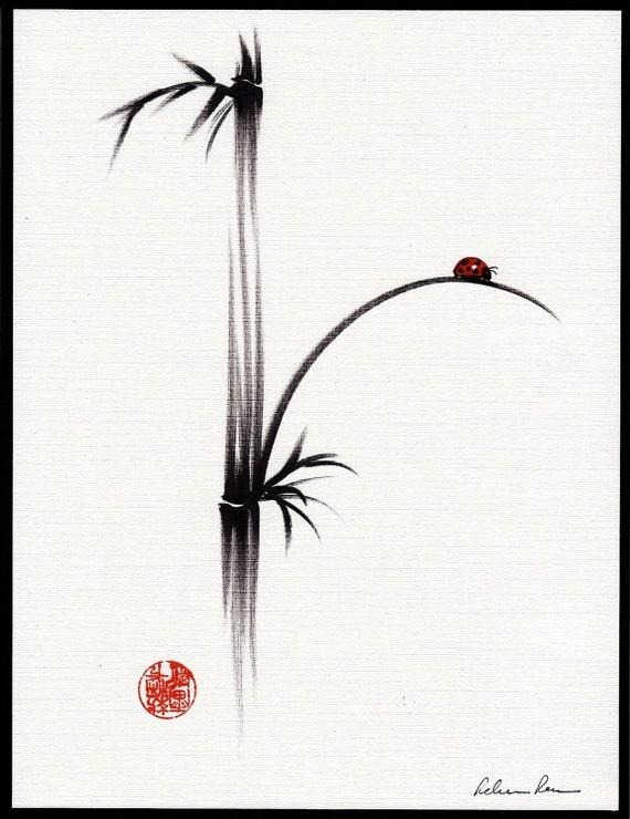 LITTLE SUNSHINE - Original ink brush pen ladybug bamboo painting