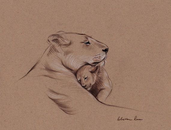 A MOTHER'S PRIDE - Original Lioness & Cub Cat drawing