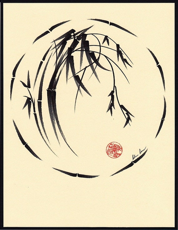 Original Enso Zen Painting Throw Pillows: Original Enso Bamboo Painting