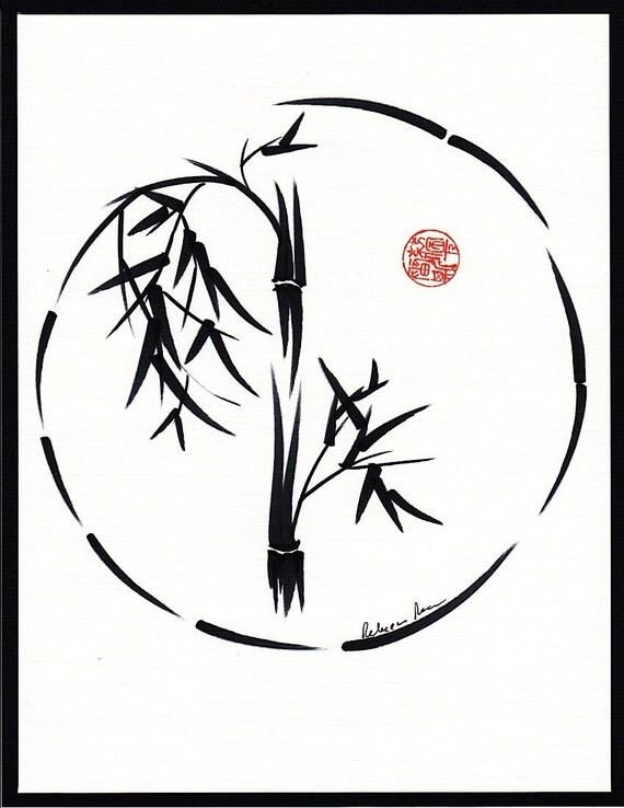 PASSAGE   Original sumi-e enso ink brush wash painting