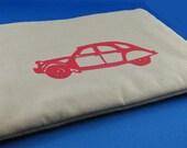 Silkscreened zippered gadget or e-reader pouch