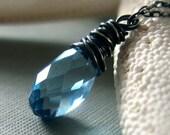 swarovski and sterling silver necklace - march birthstone, aquamarine