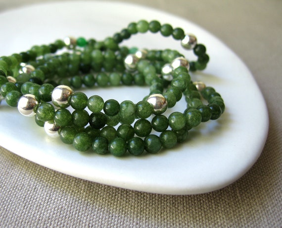 forest green, dyed jade necklace, sterling silver bubbles, long layering