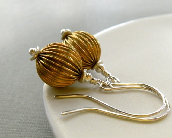 sterling silver earrings - vintage brass orbs