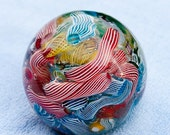 Murano Cane Glass Paperweight Genuine  blue yellow red stripes