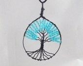 Tree of LifeAqua white lined Czech Glass Farfalle Wire Wrapped Necklace Pendant