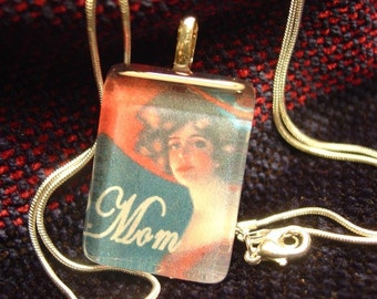 Mom Beautiful Red had Lady Pendant with snake chain necklace