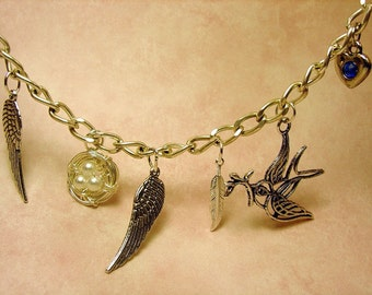 Wings Feathers Bracelet and Birds Charms