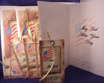 American One Nation Under God Greeting Cards and Tags (6 cards 6 tags)