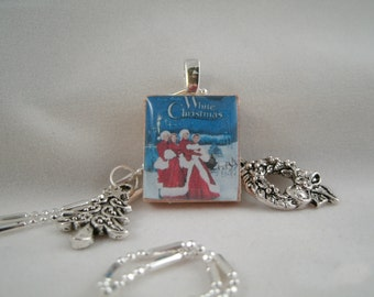 White Christmas Scrabble Tile pendant Necklace(Free Wreath Earrings with this Pendant)