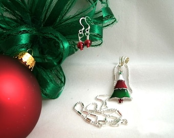 Christmas Tree Enamel 18kgp Pendant Necklace with Red Glass Bead Earrings