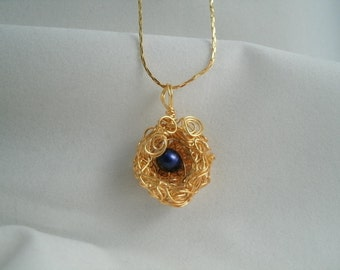 Birds Nest with 1 Dark Blue Fresh Water Pearl Wire Wrapped Necklace