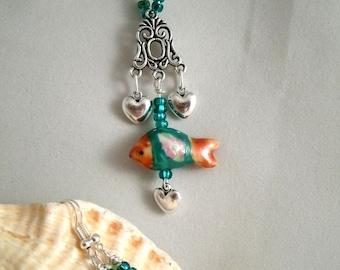 Porcelain Fish Heart Charm Glass beaded Necklace Earring Set