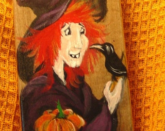 Katie Decor Board  the Ginger Haired flying witch Handpainted Original design