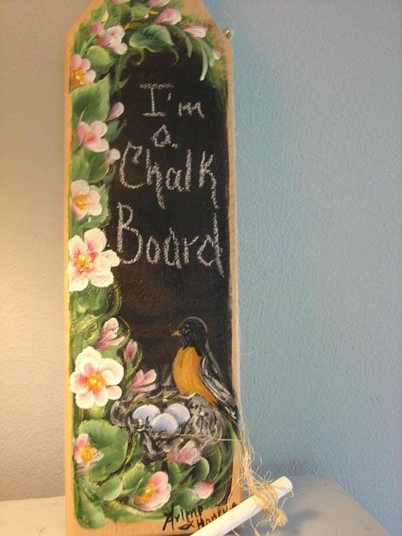 Handpainted  Robin nest Chalk board