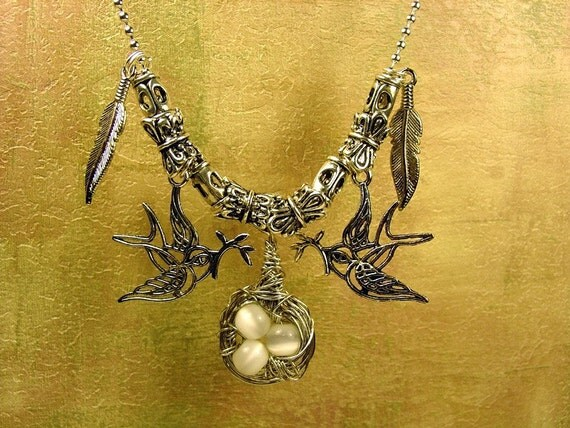Beaded Birds and Wire Wrapped  Nest Necklace