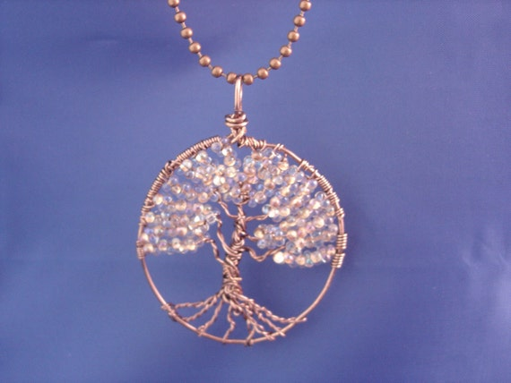 Tree of Life Wire Wrapped Copperlined Farfalle Glass Necklace