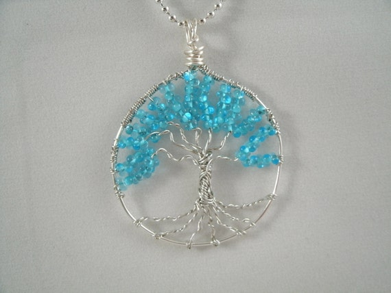 Tree of Life Aqua white Lined Farfalle Glass Necklace