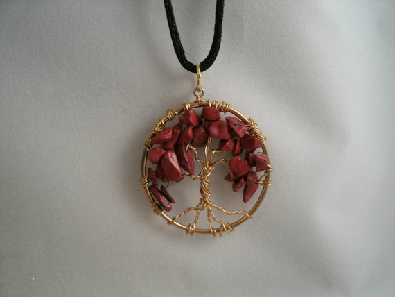 Red South African Chip Bead Tree of Life with Earrings