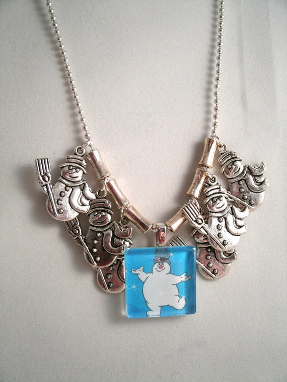 Frosty Glass Pendant Charm Necklace (with Matching Snowman Earrings)