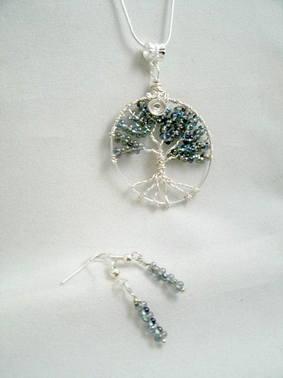 Free Ship Tree of Life Black Diamond Farfalle Glass Necklace Pendant