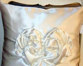 ON Reserve for Maura Pillow,ENCHANTING Ivory Satin Rose Pillow w large buttons