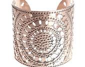 Rose Gold cuff, circles, henna design, rose gold bangle, moroccan, cuff bracelet, Statement Cuff, dot cuff