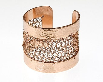 Rose Gold cuff - Crocheted Rose Gold Cuff - Hammered metal bangle - Rose gold bracelet - Wide Rose Gold cuff - Modern bracelet